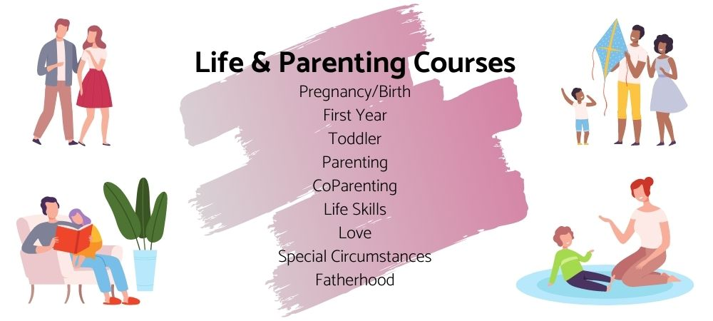 """Pink paint brushstroke gradient with text on top """"life and parenting courses"""" and illustrations of people in different life stages"""